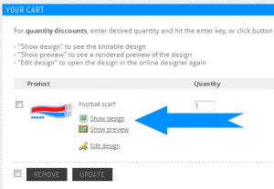 Show design in cart