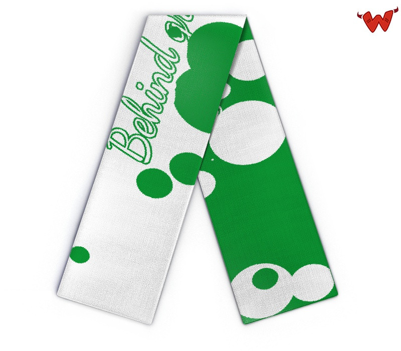 Scarf: behind green dots